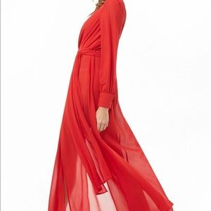 Forever 21 Synthetic Sheer M-skit Maxi Red Dress